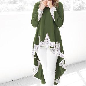 Tops - NWOT- Long Sleeve Lace Ruffles Asymmetrical Blouse